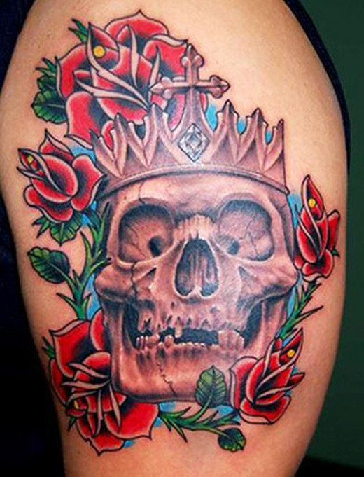 Female skull tattoo designs for inspiration sheplanet for King and queen skull tattoos